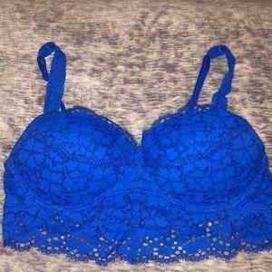 Victoria's Secret Pink Blue Lace Padded Bralette
